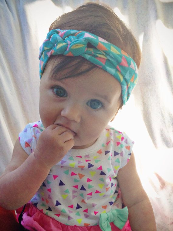 Aqua triangles baby sailors knot headband by turbansfortots