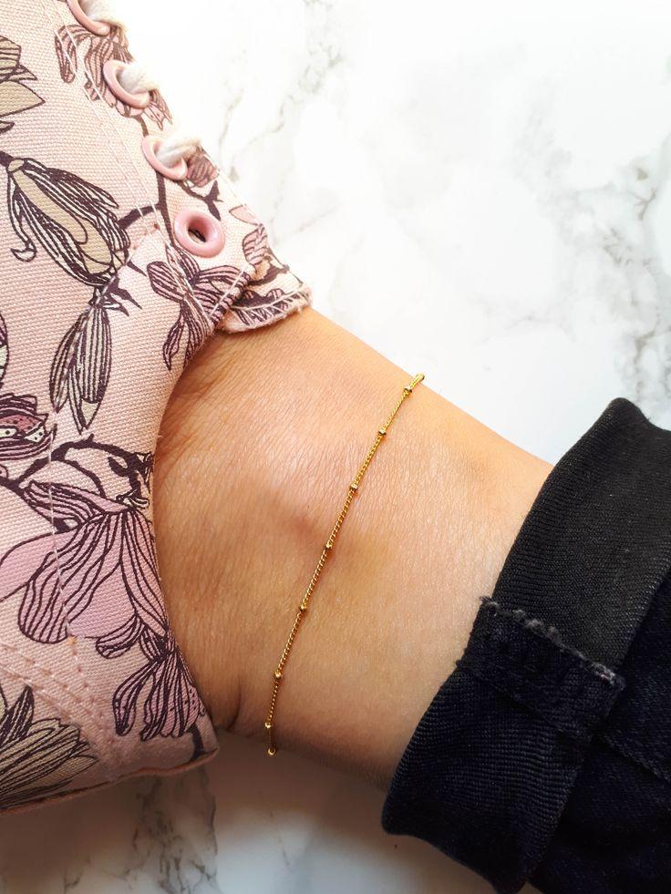 Gold Satellite Chain Anklet, Dainty Gold Anklet, Delicate Gold Anklet, Simple Gold Anklet, Chain Anklet, Women Anklet, Ankle Bracelet