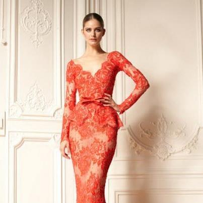 Coral kace dress by #ZuhairMurad Mercan kırmızısı dantel elbise | Zuhair Murad