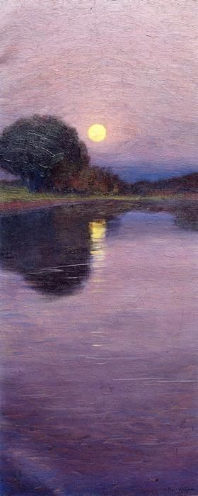 """Moonrise,"" Arthur Wesley Dow, 1916, oil on canvas, 24 1/4 x 10"", Ipswich Historical Society."