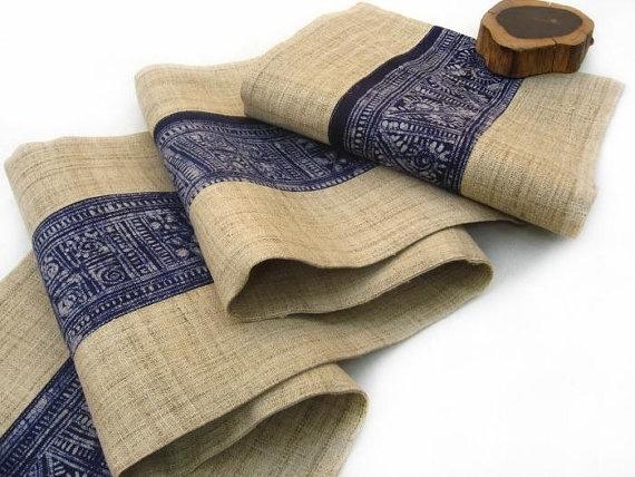 Batik natural burlap Table Runner