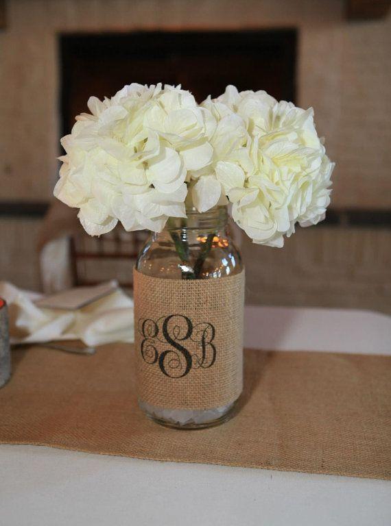 Monogram Burlap Mason Jar Sleeve - Wedding Table Decoration - Set of 2 - Size Large - Personalize