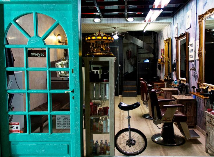 Mitseas street barber shop, hairstyling, vintage interior design