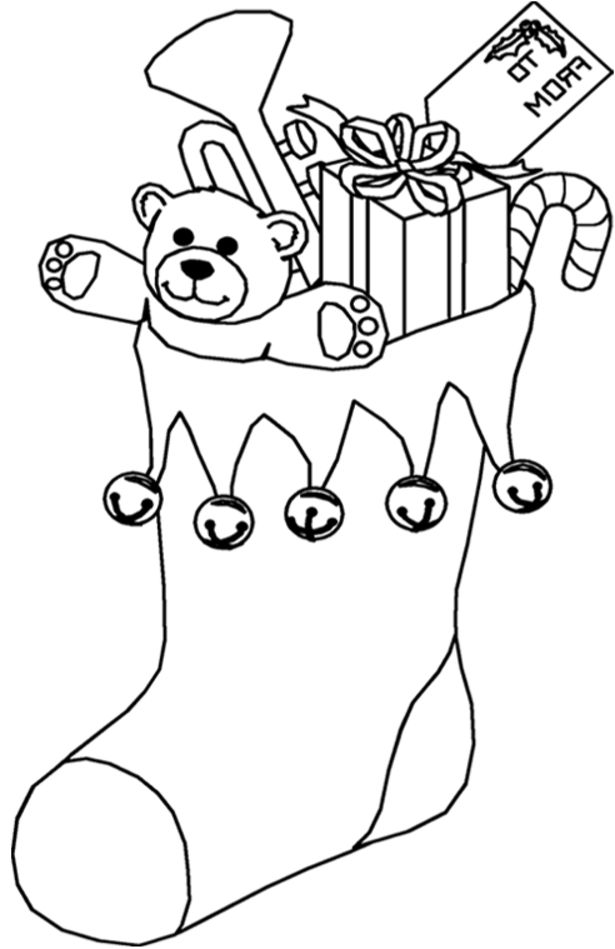 c free chrismas coloring pages | Christmas Stocking Full of Presents - Free Printable ...