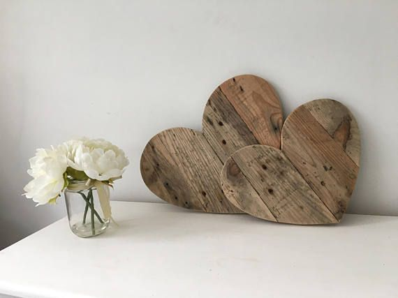 These wooden hearts are loving handmade from reclaimed wood. Each heart has wood carefully selected to give it a rustic finish. These wooden hearts can be used for bedroom decor for adults of for children. They would fit perfectly in a rustic themed bedroom or nursery. Handmade These wooden hearts have no stain or varnish, it is sanded smooth and the raw beauty of the weathered reclaimed wood with its original saw marks and nail holes is left free from a finish to achieve a rustic feel…