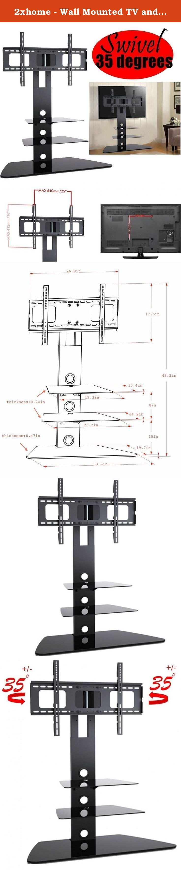2xhome - Wall Mounted TV and Component Shelf Combo DVD DVR VCR Wall Mount Bracket for TV and DVD Player DSS Receiver Blu-Ray Media VCR Stereo Cable Box - Adjustable Electronic Component Shelf Holder Glass. NOTES: Your TV must be meeting below three requirements and we guarantee this TV mount stand would work for your TV: 1. Please make sure the weight of your TV is less than or equal to 140Lbs 2. Please make sure your TV dimension is LARGER than 30.7 in (W) x 20.6 in (H), because you do…