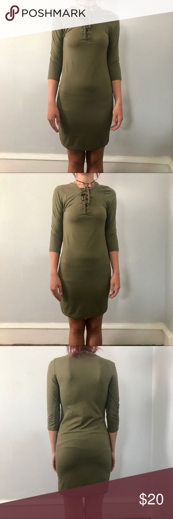 Lace up olive green bodycon dress Lace up olive green quarter sleeves bodycon dress Hot Kiss Dresses Mini