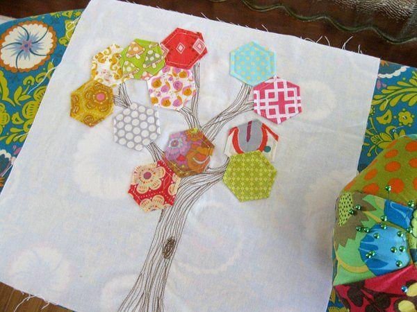 Hexagon Tree Block by StitchedInColor, via Flickr