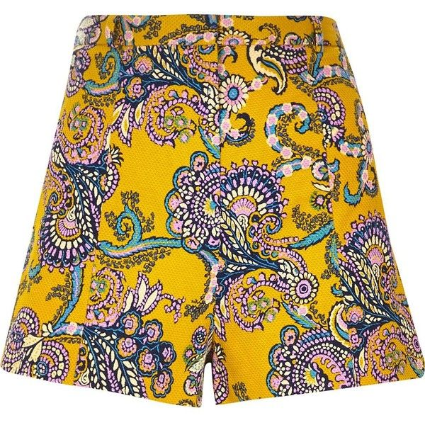 River Island Yellow textured paisley print shorts ($18) ❤ liked on Polyvore featuring shorts, yellow, sale, women, high rise shorts, high-waisted shorts, river island, yellow shorts and yellow high waisted shorts