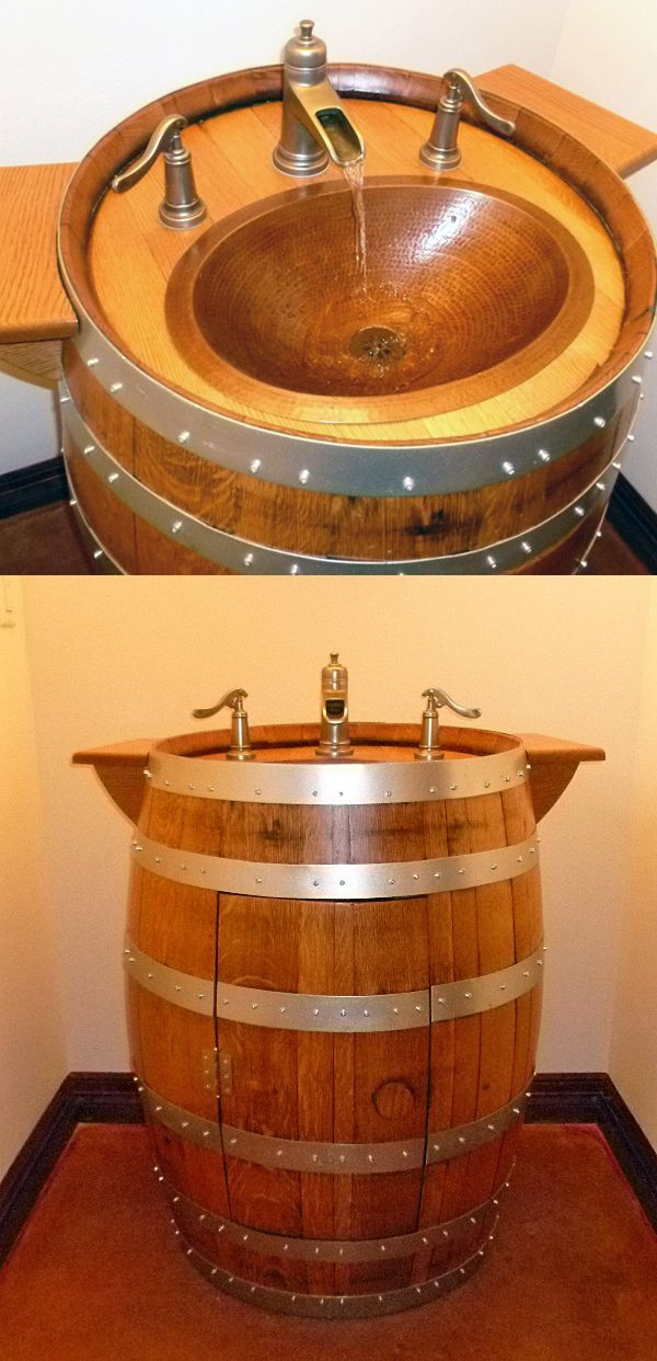 Great Idea: Upcycle A Used Wine Barrel For Your Half Bath Sink, With Some
