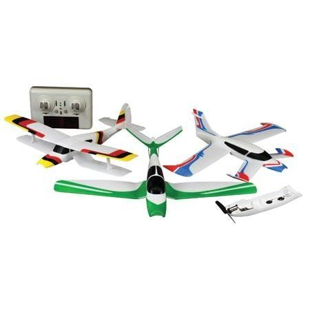 """Snap & Fly 3-in-1 Micro RTF by Guillow. $86.21. 3-in-1 Micro RTF. Fly three different RC airplanes from this one box. The Snap & Fly airplanes use an innovative bottom control module that is common to all three planes and houses the motor, propeller, all electronics and control puch rods. This bottom control module easily """"snap"""" into plane using magnets onto whichever plane you choose to fly. The radio transmitter has a mixing switch so it can be set to give the c..."""
