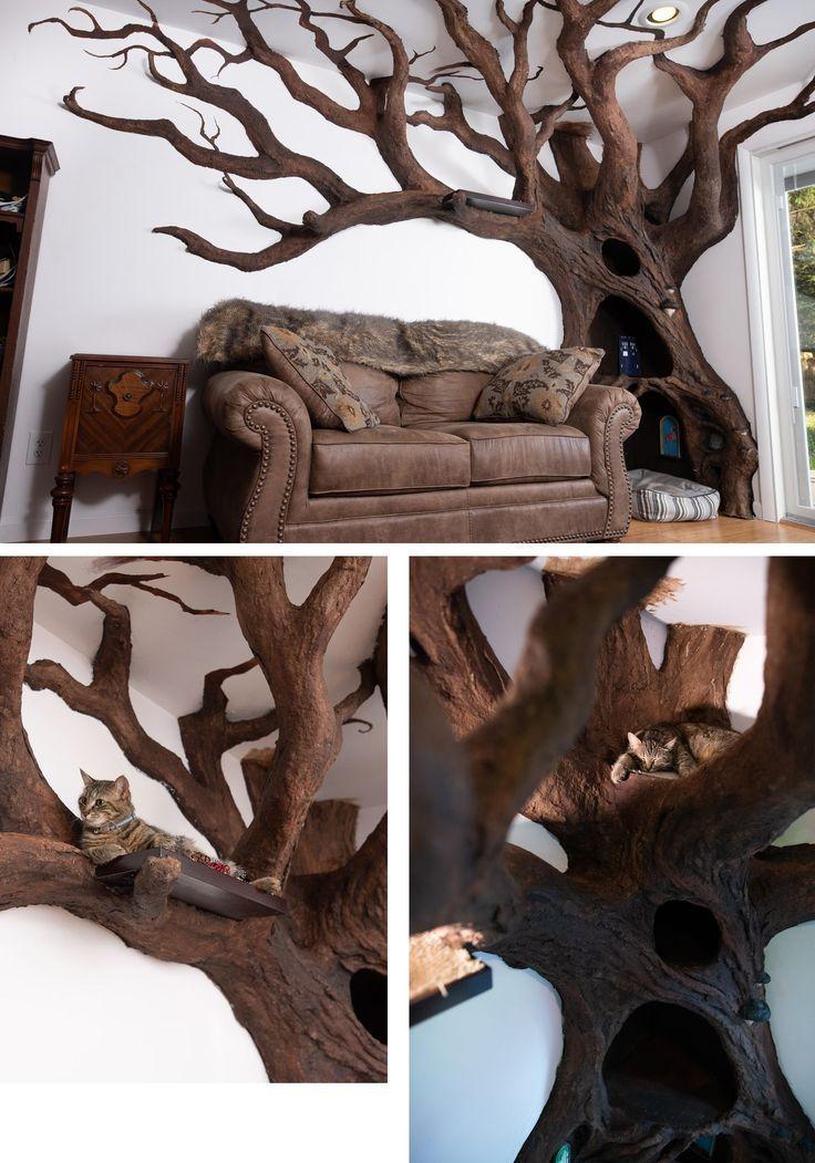 Kratzbaum Der Künstler beginnt mit einer Holzarma…