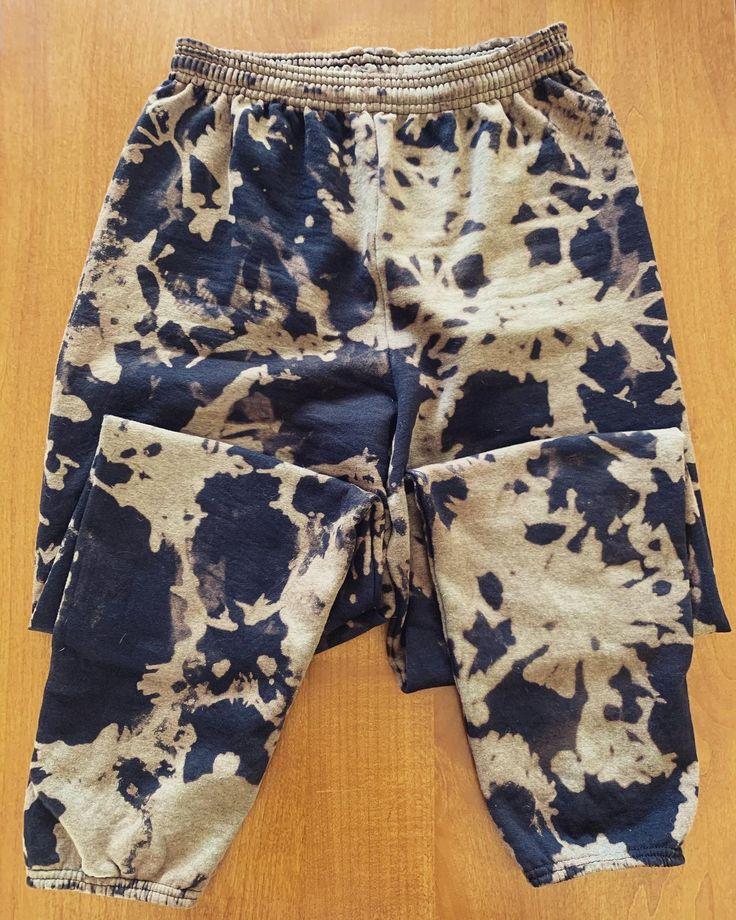 Black grey reverse tie dye sweatpants reverse tie dye