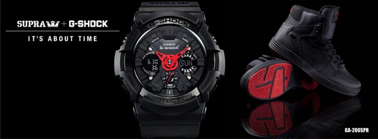 """This model is the result of collaboration between G-SHOCK and SUPRA, a world-renowned skateboard footwear brand that is popular among skaters and celebrities. A GA-200 base model features a number of design innovations, including red hands that accent basic black coloring, and a SUPRA logo on the back cover along with the figures """"20:13"""", which stand for the year 2013. The band is made of a special type of nylon material that lets it stand up to the action on the skateboard scene."""