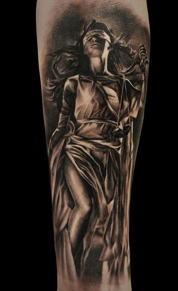 Black And Gray Lady Justice Tattoo   – Tattoos