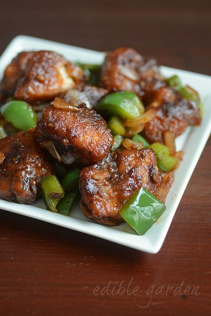 Indian-style chilli chicken, a popular Indian Chinese recipe with chicken that's often served as a snack, starter, or a side dish to noodles and fried rice
