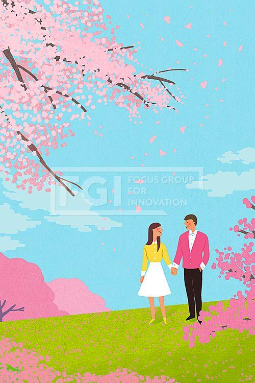PAI140, 프리진, 일러스트, 풍경, 가족, 커플, 봄, 봄풍경, 꽃, 계절, 시즌, 식물, 사람, 가정, 인물, 캐릭터, 웃음, 미소, 산책, 나들이, 행복, 남자, 여자, 2인, 부부, 연인, 벚꽃, 데이트, 사랑, 즐거운, 꽃잎, 서있는, illust, illustration #유토이미지 #프리진 #utoimage #freegine 20300756