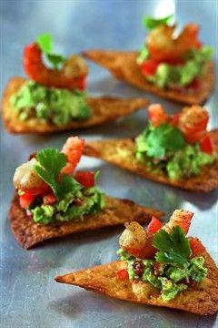 Nachos aux crevettes et au guacamole