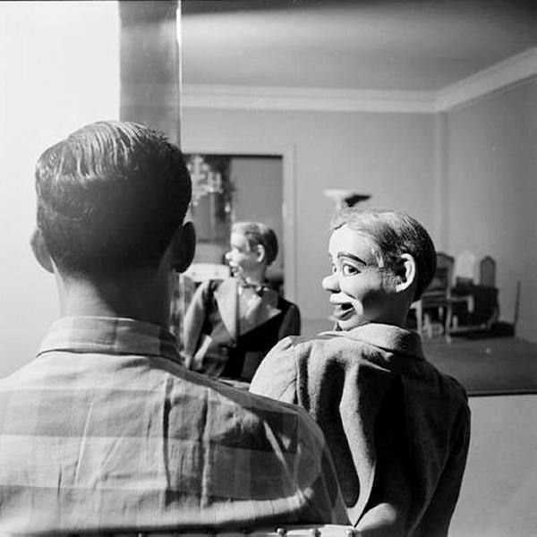 Ventriloquist Paul Winchell and his little friend Jerry Mahoney, New York, 1952, photo by Gordon Parks