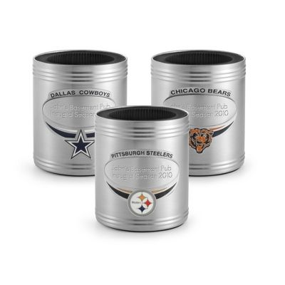 "When it comes to aficionados of the NFL, the word ""fan"" often doesn't do justice to their allegiance and passion. The perfect size for his drink of choice, this stainless steel can coozie has a non-skid bottom, so his beverage isn't going anywhere. The insulated lining keeps whatever he puts in it at the perfect temperature. https://www.thingsremembered.com/product/NFL-Can-Coozies/159436.uts"