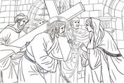 Sixth Station - Veronica Wipes the Face of Jesus Coloring page
