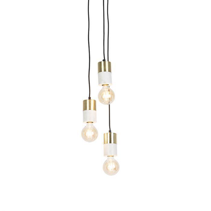 Ronde plaat met 3 marmer met messing hanglampen – Cava