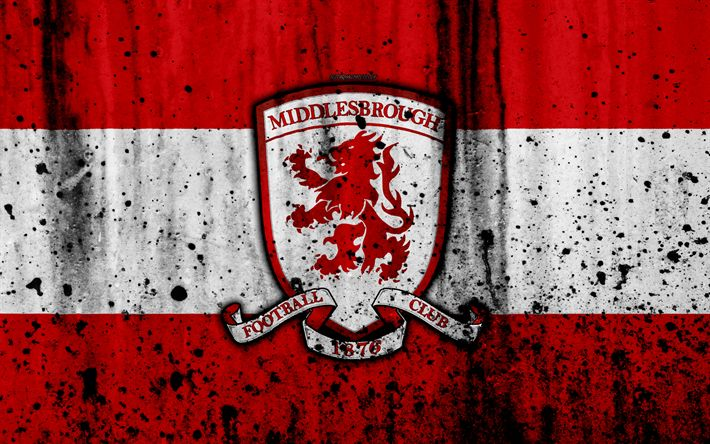 Download wallpapers 4k, FC Middlesbrough, grunge, EFL Championship, art, soccer, football club, England, Middlesbrough, logo, stone texture, Middlesbrough FC