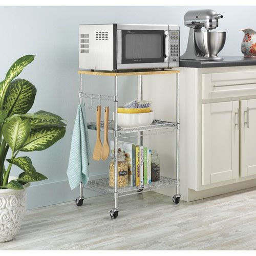 Features: -Durable chrome steel and removable birch wood tops. -Manufacturer provides 10 years limited warranty. -Accessory hooks included. -Locking wheels. -Utilitarian style. Product Type: -Mi