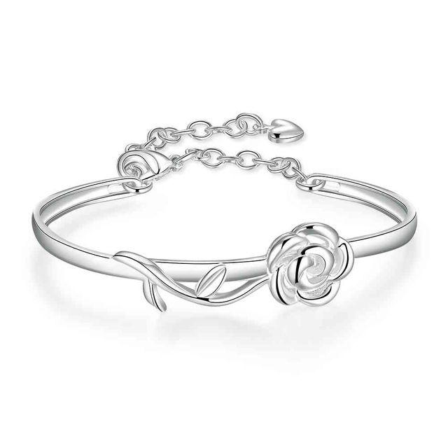 Бесплатная Доставка Лучший Подарок серебряные браслеты & браслеты Розовая pulsera joias SMTB237