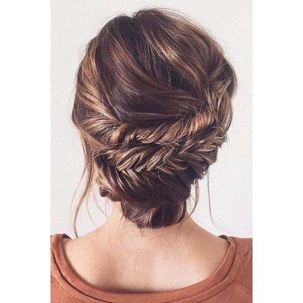 Double Fishtail Bun Updo Tutorial ❤ liked on Polyvore featuring beauty products, haircare, hair styling tools, hair, beauty, buns, hair styles and penteado