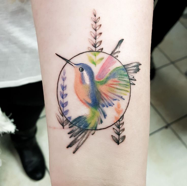 Small colorful Hummingbird, by Keith C at Spinning Needle Tattoos in Ft Worth