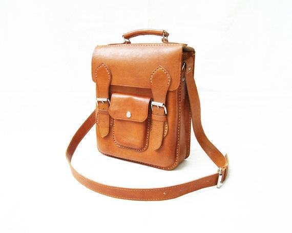 Unisex Brown Retro Bag Laptop Manual by CoruscateLeatherBag, $165.00