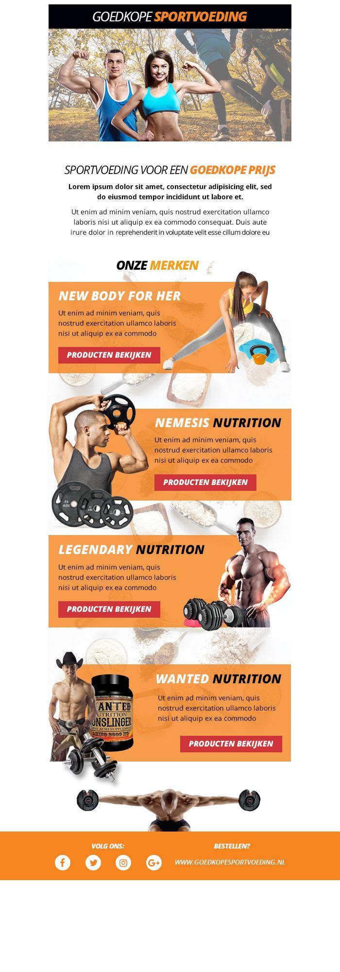 Goedkope sportvoeding newsletter #ontwerp #techniek #newsletter #sport #fit #nieuwsbrief #sportvoeding