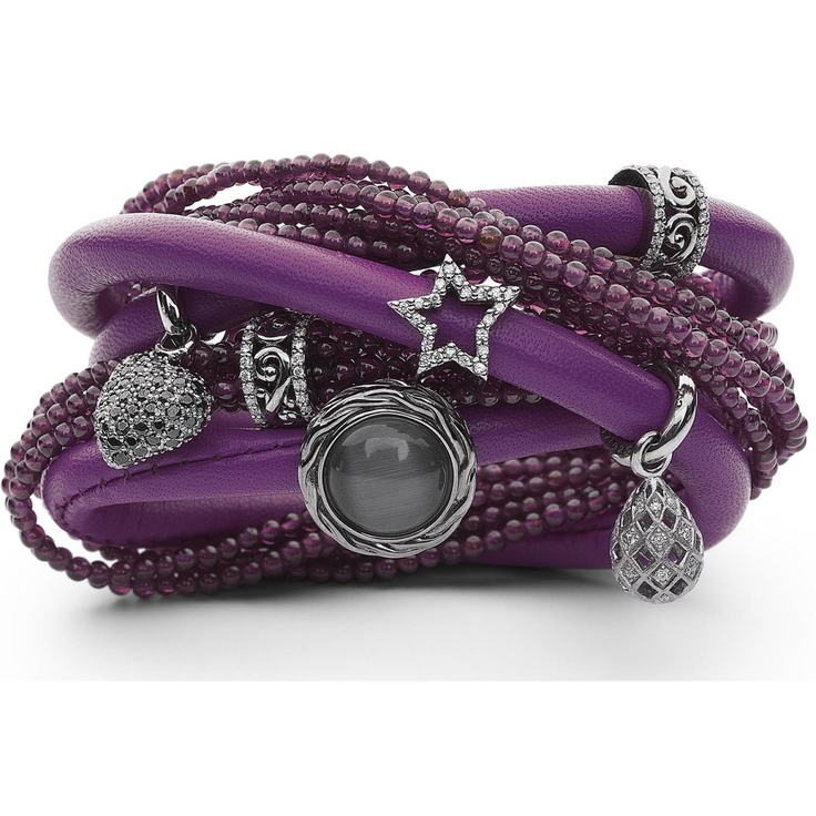 Story purple leather arm band with charms #JFJ