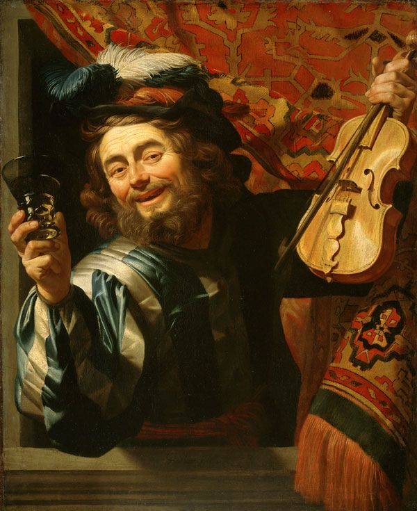 Gerard van Honthorst - The Merry Violonist with a Wine Glass, 1623 -  Amsterdam, Rijksmuseum, Photo: Collection Rijksmuseum Amsterdam (1592-1656)