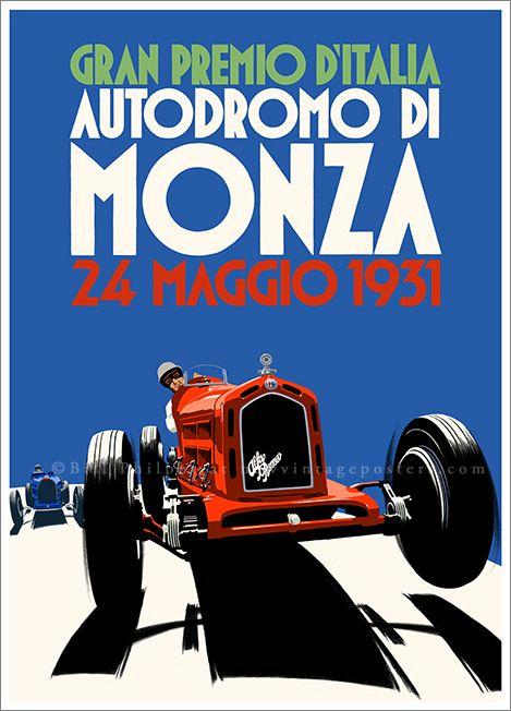 Art Deco Alfa Romeo Monza poster by Bill Philpot at newvintageposters.com