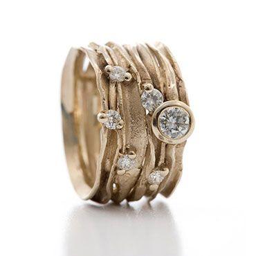 Brede gouden ring met diamanten | Wim Meeussen Goudsmederij Antwerpen