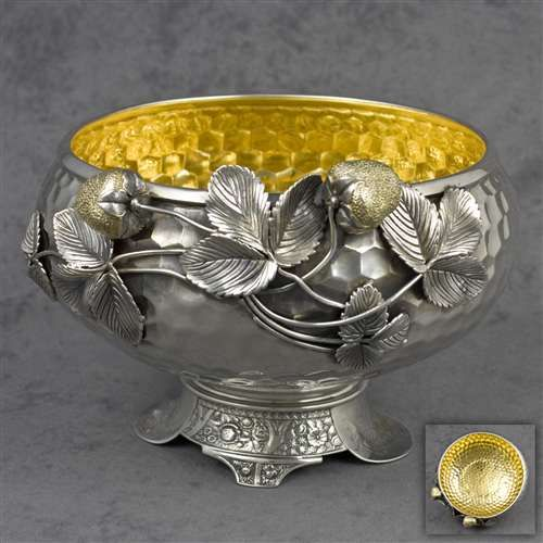 Wilcox Silver Plate Co. silverplate centerpiece bowl with a honeycomb background and applied strawberry and vine motif, c1880 (sterling shop)