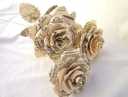 Three Recycled Paper Roses