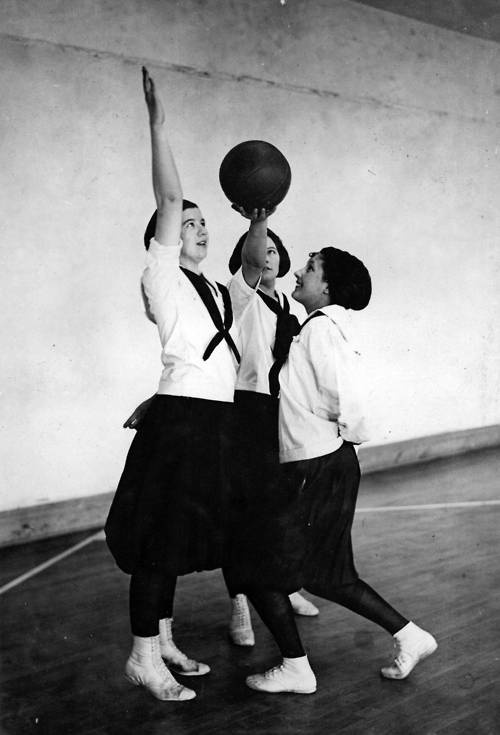 members of the Washington State College (now known as Washington State University) women's basketball team tip-off at the beginning of a game, circa 1925  MARCH MADNESS!!!