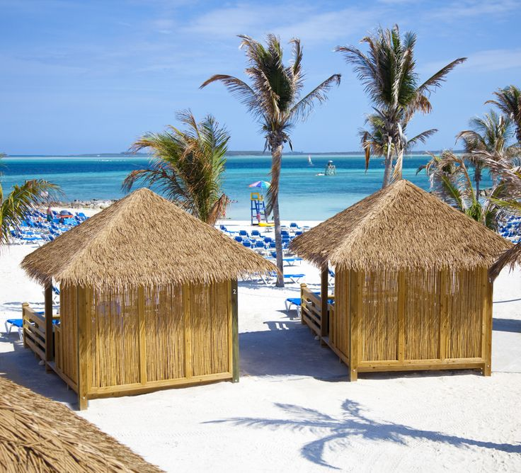 White sandy beaches, clear blue waters and palm trees. CocoCay, Bahamas.: Cococay