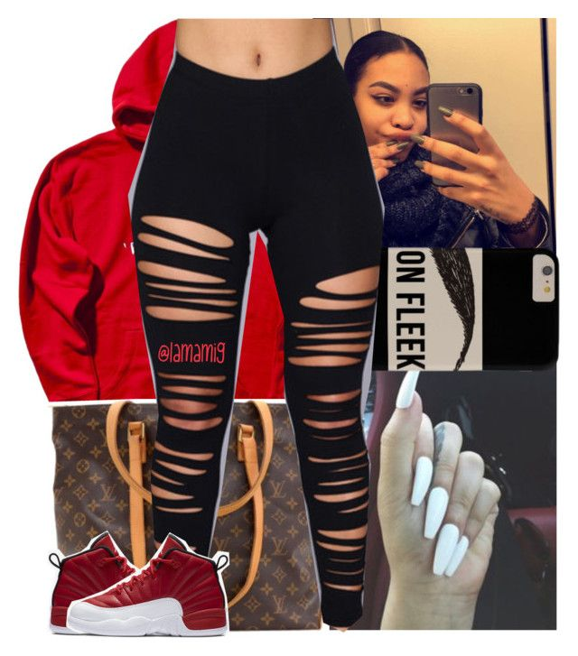 """buy u a drank x tpain"" by lamamig ❤ liked on Polyvore featuring Louis Vuitton and NIKE"