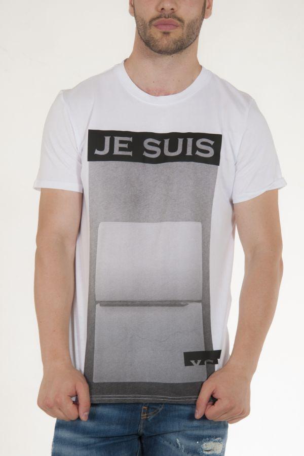Μπλούζα λευκή κοντομάνικη της Yes London με print αντρικό