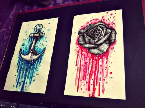 anchor and rose drawings