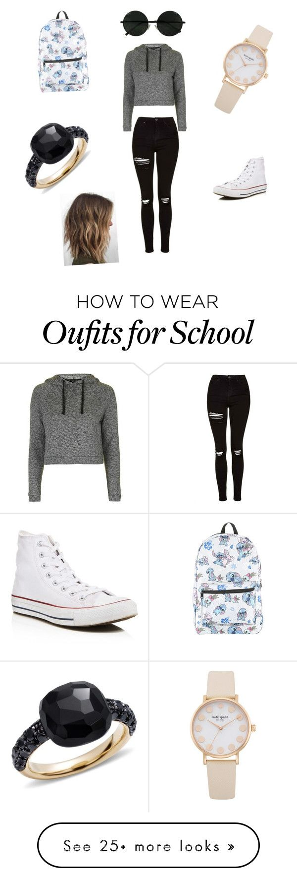 """""""First day of school kind of outfit"""" by nadia-duran14 on Polyvore featuring Topshop, Converse, Disney and Pomellato"""