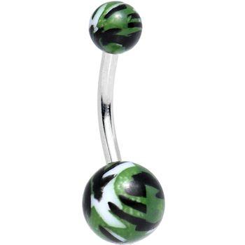 Green Black White Acrylic Camo Belly Ring | Body Candy Body Jewelry #BodyCandy