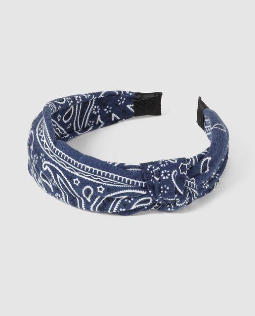 93a5043e4d96 Diadema de niña Brotes tejido bandana azul marino y blanco