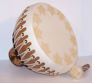 """Maple Leaf Gourd Drum  by Karen Hundt-Brown  This large gourd drum features a goat rawhide head and attached covered beater. The body of the drum is made from a large bottle gourd and the beater is made from a small dipper gourd. Size: 13""""H x 12"""" diameter.  Price: $350.00   On Artful Vision, www.artfulvision.com a portion of your purchase is donated to a participating non-profit of your choice. #art #music #drum #instrument #gourd #maple #beater #Brown"""