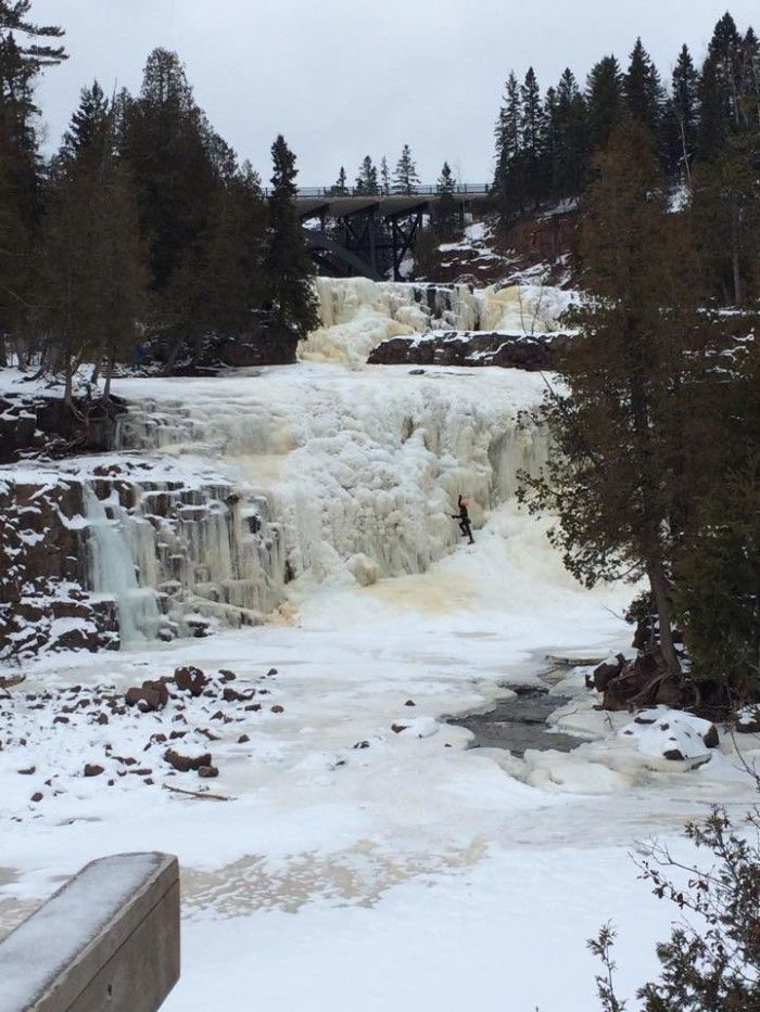 11. But the best place for frozen falls might be Gooseberry Falls State Park in the winter. You can even climb these when they're frozen!