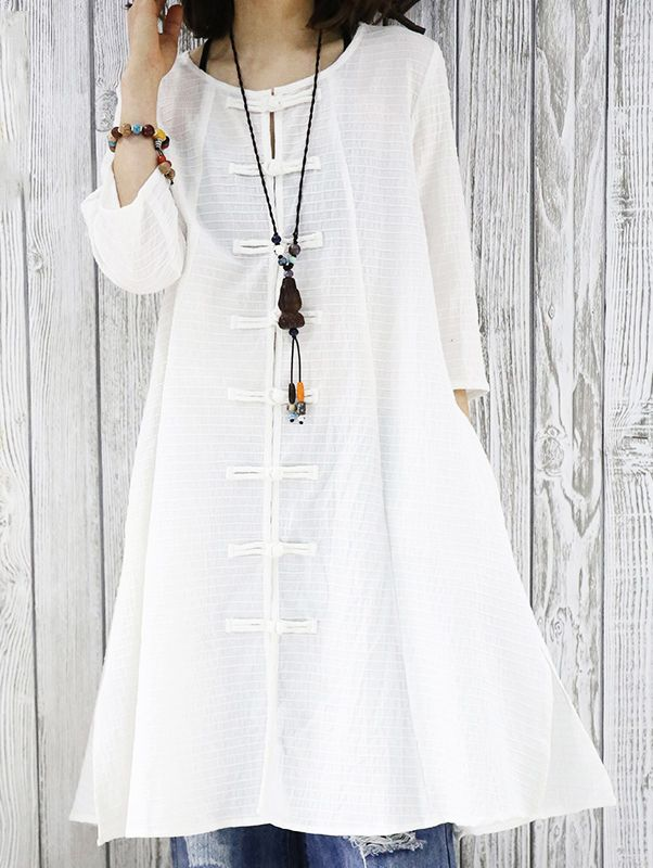 Half sleeve white cotton retro cardigan dress summer women shirt blouse top